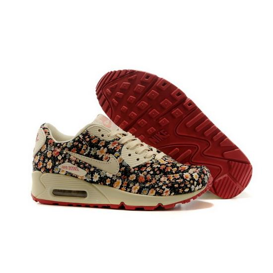 wholesale dealer 84291 68676 Nike Air Max 90 Womens Shoes Online Light Gray Flower Brown Inexpensive