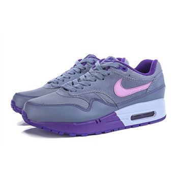official photos 7b8fe 124f2 Buy Online Women s Nike Air Max 1 Running Shoes Grey Purple Pink 319986-